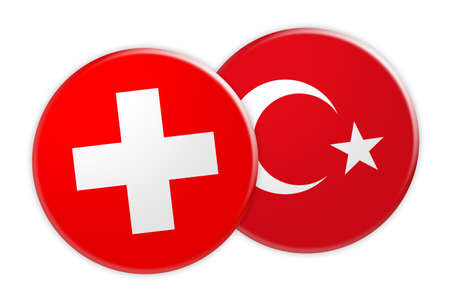 News Concept: Switzerland Flag Button On Turkey Flag Button, 3d illustration on white background Stock Photo