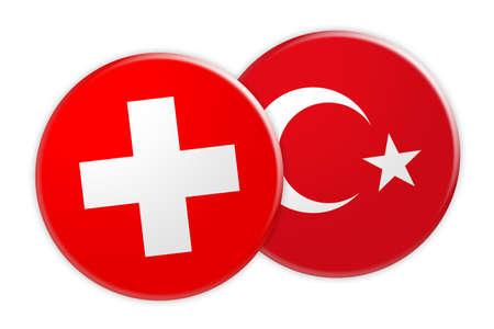 News Concept: Switzerland Flag Button On Turkey Flag Button, 3d illustration on white background Stock Photo
