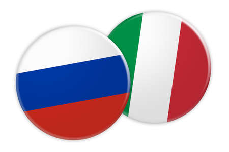 News Concept: Russia Flag Button On Italy Flag Button, 3d illustration on white background