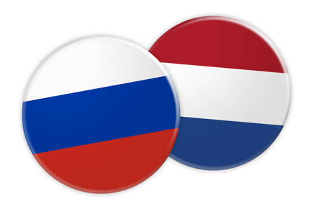 treaty: News Concept: Russia Flag Button On Netherlands Flag Button, 3d illustration on white background