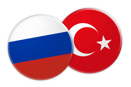 News Concept: Russia Flag Button On Turkey Flag Button, 3d illustration on white background