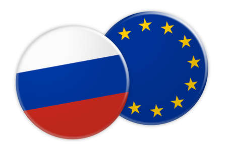 News Concept: Russia Flag Button On EU Flag Button, 3d illustration on white background