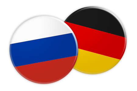 News Concept: Russia Flag Button On Germany Flag Button, 3d illustration on white background Stock Photo