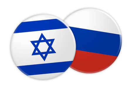 News Concept: Israel Flag Button On Russia Flag Button, 3d illustration on white background Stock Photo