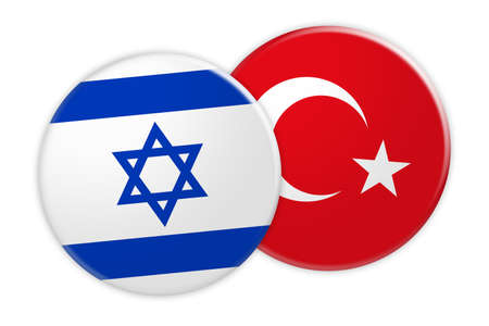 News Concept: Israel Flag Button On Turkey Flag Button, 3d illustration on white background