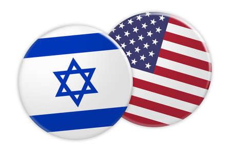 News Concept: Israel Flag Button On USA Flag Button, 3d illustration on white background