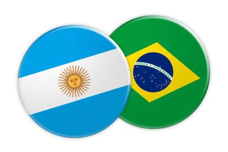 News Concept: Argentina Flag Button On Brazil Flag Button, 3d illustration on white background