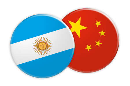News Concept: Argentina Flag Button On China Flag Button, 3d illustration on white background Stock Photo