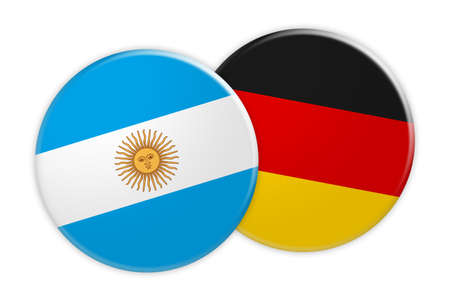 News Concept: Argentina Flag Button On Germany Flag Button, 3d illustration on white background Stock Photo