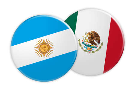 News Concept: Argentina Flag Button On Mexico Flag Button, 3d illustration on white background
