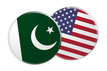 News Concept: Pakistan Flag Button On USA Flag Button, 3d illustration on white background