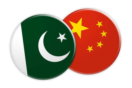 treaty: News Concept: Pakistan Flag Button On China Flag Button, 3d illustration on white background