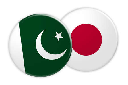 treaty: News Concept: Pakistan Flag Button On Japan Flag Button, 3d illustration on white background