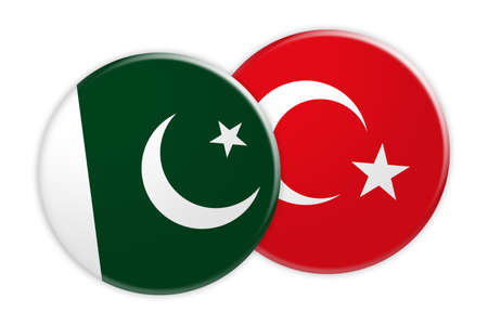 News Concept: Pakistan Flag Button On Turkey Flag Button, 3d illustration on white background Stock Photo