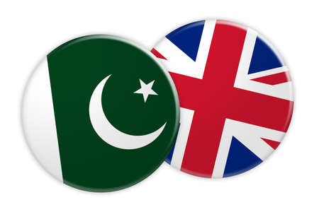 News Concept: Pakistan Flag Button On UK Flag Button, 3d illustration on white background