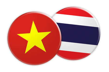 News Concept: Vietnam Flag Button On Thailand Flag Button, 3d illustration on white background