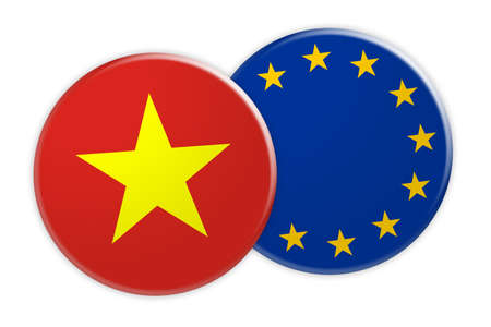News Concept: Vietnam Flag Button On EU Flag Button, 3d illustration on white background