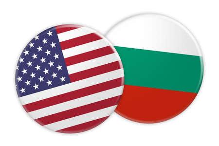 US News Concept: USA Flag Button On Bulgaria Flag Button, 3d illustration on white background Stock Photo