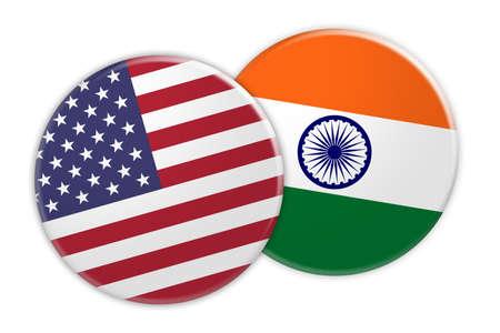 US News Concept: USA Flag Button On India Flag Button, 3d illustration on white background Stock Photo