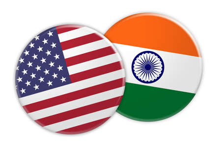 rival: US News Concept: USA Flag Button On India Flag Button, 3d illustration on white background Stock Photo