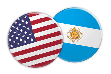 US News Concept: USA Flag Button On Argentina Flag Button, 3d illustration on white background