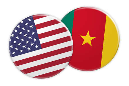 US News Concept: USA Flag Button On Cameroon Flag Button, 3d illustration on white background Imagens