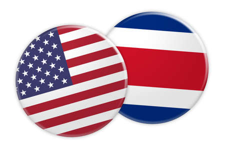 US News Concept: USA Flag Button On Costa Rica Flag Button, 3d illustration on white background