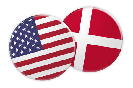 US News Concept: USA Flag Button On Denmark Flag Button, 3d illustration on white background Stock Photo