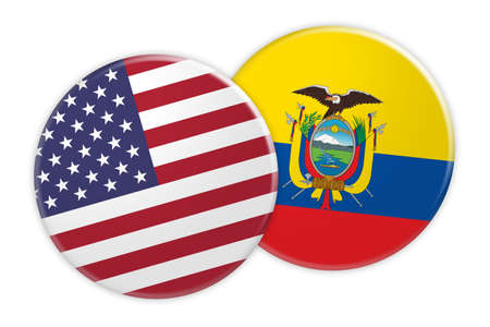 US News Concept: USA Flag Button On Ecuador Flag Button, 3d illustration on white background