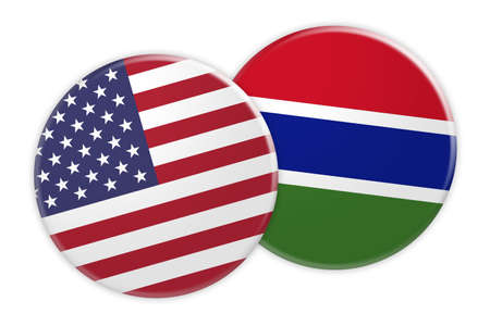treaty: US News Concept: USA Flag Button On Gambia Flag Button, 3d illustration on white background