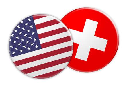 US News Concept: USA Flag Button On Switzerland Flag Button, 3d illustration on white background