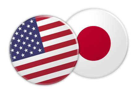 US News Concept: USA Flag Button On Japan Flag Button, 3d illustration on white background
