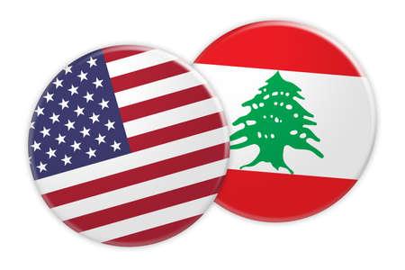 US News Concept: USA Flag Button On Lebanon Flag Button, 3d illustration on white background