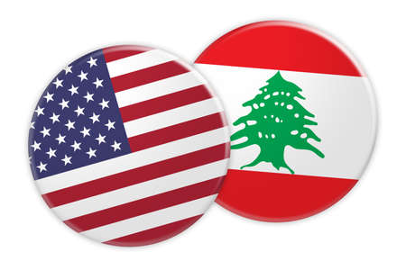 US News Concept: USA Flag Button On Lebanon Flag Button, 3d illustration on white background