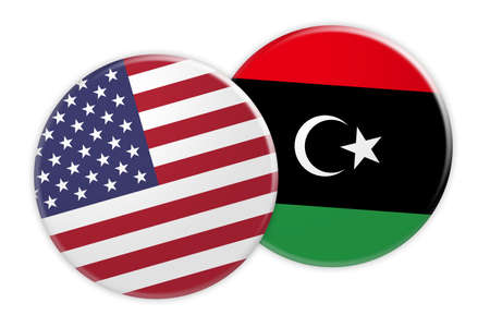 treaty: US News Concept: USA Flag Button On Libya Flag Button, 3d illustration on white background