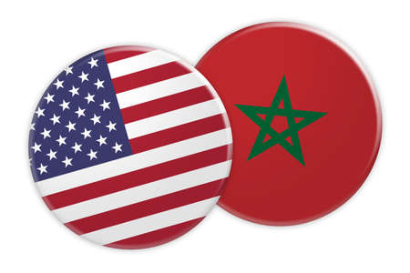 US News Concept: USA Flag Button On Morocco Flag Button, 3d illustration on white background