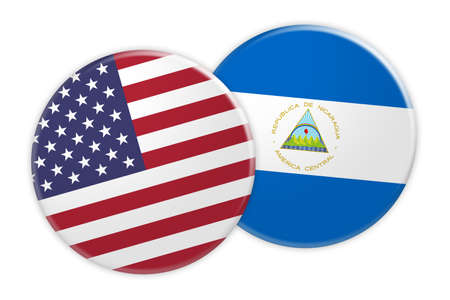 rival: US News Concept: USA Flag Button On Nicaragua Flag Button, 3d illustration on white background