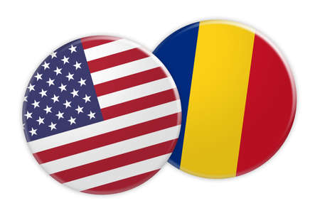 US News Concept: USA Flag Button On Romania Flag Button, 3d illustration on white background Stock Photo
