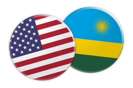 rival: US News Concept: USA Flag Button On Rwanda Flag Button, 3d illustration on white background Stock Photo