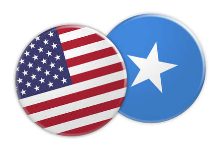 US News Concept: USA Flag Button On Somalia Flag Button, 3d illustration on white background
