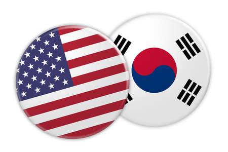 US News Concept: USA Flag Button On South Korea Flag Button, 3d illustration on white background