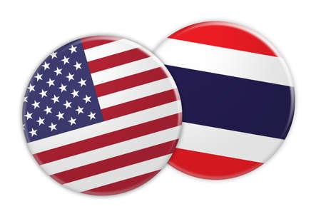 US News Concept: USA Flag Button On Thailand Flag Button, 3d illustration on white background Stock Photo