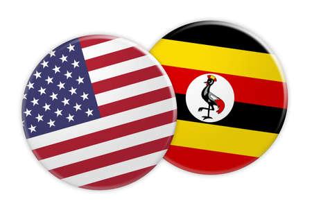US News Concept: USA Flag Button On Uganda Flag Button, 3d illustration on white background Stock Photo