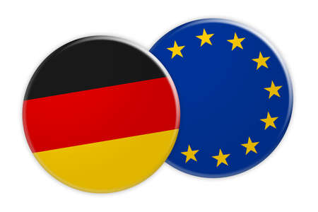 treaty: News Concept: Germany Flag Button On EU Flag Button, 3d illustration on white background