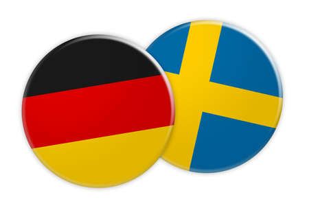 News Concept: Germany Flag Button On Sweden Flag Button, 3d illustration on white background