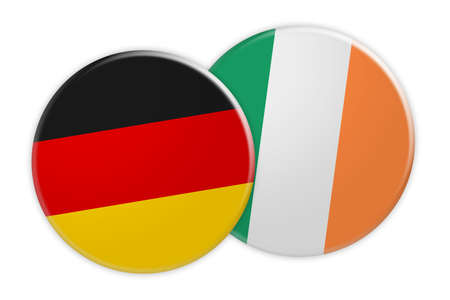 News Concept: Germany Flag Button On Ireland Flag Button, 3d illustration on white background