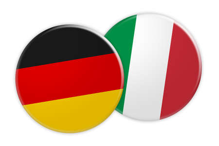 News Concept: Germany Flag Button On Italy Flag Button, 3d illustration on white background