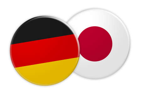 News Concept: Germany Flag Button On Japan Flag Button, 3d illustration on white background Stock Photo