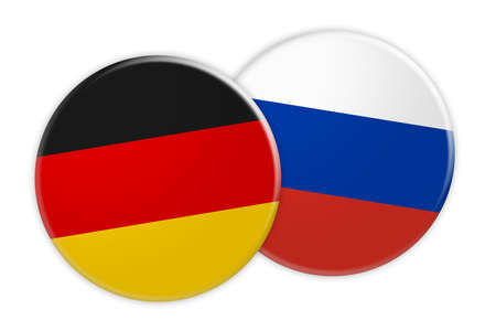 rival: News Concept: Germany Flag Button On Russia Flag Button, 3d illustration on white background