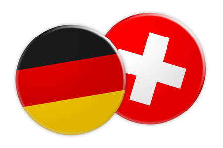 News Concept: Germany Flag Button On Switzerland Flag Button, 3d illustration on white background